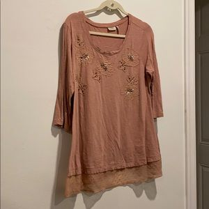 LOGO pink long shirt embroidered flower w sequins